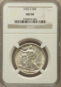 Walking Liberty Half Dollars: , 1933-S 50C AU50 NGC. NGC Census: (18/792). PCGS Population(48/1290). Mintage: 1,786,000. Numismedia Wsl. Price for problem...