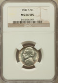 Jefferson Nickels, 1942-S 5C MS66 Five Full Steps NGC. NGC Census: (54/13). PCGSPopulation (157/12). Numismedia Wsl. Price for problem free ...