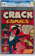 Golden Age (1938-1955):Crime, Crack Comics #1 (Quality, 1940) CGC FN/VF 7.0 Off-white pages....