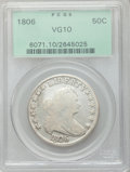Early Half Dollars: , 1806 50C Pointed 6, Stem VG10 PCGS. PCGS Population (47/967). NGCCensus: (45/1814). Mintage: 839,576. Numismedia Wsl. Pric...