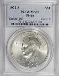 Eisenhower Dollars: , 1972-S $1 Silver MS67 PCGS. PCGS Population (4251/1274). NGC Census: (689/317). Mintage: 2,193,056. Numismedia Wsl. Price f...
