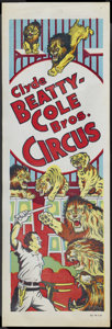 """Movie Posters:Miscellaneous, Clyde Beatty-Cole Bros. Circus Poster (1950s). Poster (14"""" X 42""""). Miscellaneous...."""