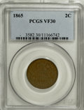 Two Cent Pieces: , 1865 2C VF30 PCGS. PCGS Population (5/525). NGC Census: (2/774).Mintage: 13,640,000. Numismedia Wsl. Price for NGC/PCGS co...