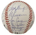 Autographs:Baseballs, Dodgers Pitchers Multi-Signed Baseball. Twenty-nine former pitchersin the Dodgers organization have checked in on the ONL ...