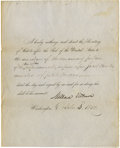 "Autographs:U.S. Presidents, Millard Fillmore Partly Printed Document Signed ""MillardFillmore,"" one page, 8.25"" x 10.25"". Washington, October 3,185..."