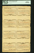 Colonial Notes:New York, New York March 5 , 1776 (Water Works) 8s Sheet of Eight PCGS ChoiceNew 63PPQ.. ...