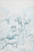 Original Comic Art:Covers, Arthur Adams Fantastic Four #166 Penciled Thing vs. HulkCover Re-Creation Original Art (undated)....