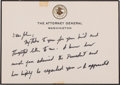 Autographs:Statesmen, Robert F. Kennedy: Autograph Note as Attorney General Signed,1963,...