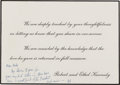 Autographs:Statesmen, Robert F. Kennedy: Autograph Note on Mourning Card Signed, 1963,...