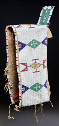 American Indian Art:Beadwork and Quillwork, A SIOUX BEADED HIDE BABY CARRIER. c. 1890 ...