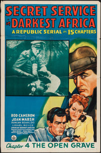 "Secret Service in Darkest Africa (Republic, 1943). One Sheet (27"" X 41"") Chapter 4-""The Open Grave.""..."