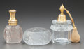 Art Glass:Lalique, R. LALIQUE FROSTED GLASS AND METAL MOLINARD CALENDALATOMIZER WITH R. LALIQUE ATOMIZER AND FROSTED GLASS BOX. Ci...(Total: 3 Items)