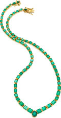 Estate Jewelry:Necklaces, Emerald, Gold Necklace. ...