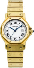 Estate Jewelry:Watches, Cartier Lady's Gold Santos Automatique Wristwatch. ...