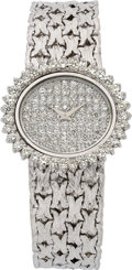 Estate Jewelry:Watches, Swiss Lady's Diamond, White Gold Wristwatch. ...