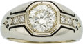 Estate Jewelry:Rings, Art Deco Gentleman's Diamond, Enamel, White Gold Ring. ...