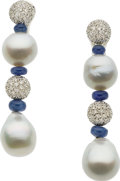Estate Jewelry:Earrings, South Sea Cultured Pearl, Diamond, Sapphire, White Gold Earrings....