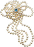 Estate Jewelry:Pearls, Freshwater Cultured Pearl, Topaz, Diamond, White Gold Necklace. ...