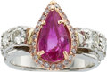 Estate Jewelry:Rings, Sapphire, Colored Diamond, Gold Ring. ...