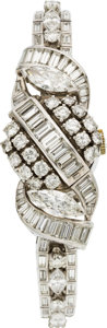 Estate Jewelry:Watches, Hamilton Lady's Diamond, Platinum Covered Dial Wristwatch, circa1950. ...