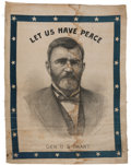 Political:Textile Display (pre-1896), Ulysses S. Grant: An Intriguing Cotton Portrait Banner. ...