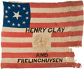Political:Textile Display (pre-1896), Clay & Frelinghuysen: A Very Rare Variety of 1844 Silk CampaignFlag Banner. ...