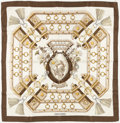 "Luxury Accessories:Accessories, Hermes Brown, Gold & Cream ""Aux Champs,"" by Caty Latham SilkScarf. ..."