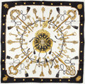 "Luxury Accessories:Accessories, Hermes Black, White & Gold ""Les Cles,"" by Caty Latham SilkScarf. ..."