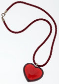 Luxury Accessories:Accessories, Baccarat Red Glass Heart Pendant on Red Silk Rope Chain Necklace....