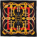 "Luxury Accessories:Accessories, Hermes Black, Gold & Red ""Grand Manege,"" by Henri d'Origny SilkScarf. ..."