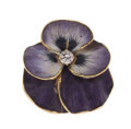 Estate Jewelry:Brooches - Pins, Diamond, Enamel, Gold Flower Brooch. ...