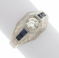 Diamond, Synthetic Sapphire, White Gold Ring