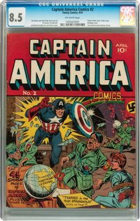 Captain America Comics #2 (Timely, 1941) CGC VF+ 8.5 Off-white pages
