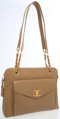 Luxury Accessories:Bags, Chanel Beige Caviar Leather Shoulder Bag with CC Turnlock Pocket....