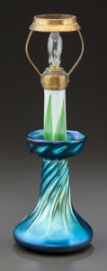 Art Glass:Tiffany , TIFFANY STUDIOS BLUE FAVRILE GLASS CANDLESTICK LAMP BASE WITHRISER. Circa 1910, Engraved: L.C.T., Favrile. 11-1/8inche...