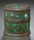 Art Glass:Tiffany , RARE TIFFANY STUDIOS GLASS AND BRONZE GRAPEVINE PATTERNHINGED GLUE POT HOLDER. Circa 1915, Stamped: TIFFANY STU...