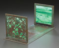 Art Glass:Tiffany , TIFFANY STUDIOS GLASS AND BRONZE GRAPEVINE PATTERN FOLDING BOOK STAND. Circa 1915, Stamped: TIFFANY STUDIOS, NEW...