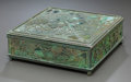 Art Glass:Tiffany , RARE TIFFANY STUDIOS GLASS AND BRONZE GRAPEVINE PATTERNSQUARE DESK BOX. Circa 1915, Stamped: TIFFANY STUDIOS, N...