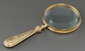 Art Glass:Tiffany , TIFFANY STUDIOS GLASS AND GILT BRONZE PINE NEEDLE PATTERNMAGNIFYING GLASS. Circa 1920, Stamped: TIFFANY STUDIOS...