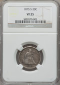 Twenty Cent Pieces: , 1875-S 20C VF25 NGC. NGC Census: (45/2294). PCGS Population(70/2872). Mintage: 1,155,000. Numismedia Wsl. Price for proble...