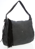 Luxury Accessories:Bags, Henry Beguelin Black Stamped Leather Hobo Shoulder Bag. ...