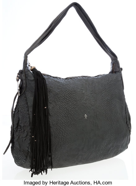 e479d1d452b1 Luxury Accessories:Bags, Henry Beguelin Black Stamped Leather Hobo Shoulder  Bag.