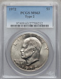 Eisenhower Dollars, 1972 $1 Type Two MS63 PCGS. PCGS Population (519/507). NGC Census:(0/0). Numismedia Wsl. Price for problem free NGC/PCGS ...