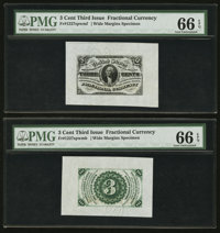 Fr. 1227SP 3¢ Face and Back Wide Margin Third Issue Pair PMG Gem Uncirculated 66 EPQ