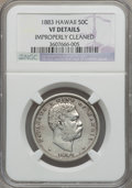 Coins of Hawaii: , 1883 50C Hawaii Half Dollar -- Improperly Cleaned -- NGC Details.VF. NGC Census: (5/439). PCGS Population (11/661). Mintag...
