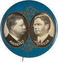 "Political:Pinback Buttons (1896-present), Roosevelt & Johnson: A Substantial Large 1¾"" Jugate for the1912 ""Bull Moose"" Ticket. ..."