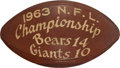 Football Collectibles:Balls, 1963 NFL Championship Game Used, Multi Signed Football - Documented Final Point Ball Caught by Fan!...