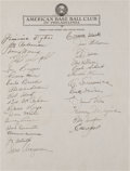 Baseball Collectibles:Others, 1949 Philadelphia Athletics Team Signed Sheet - With ConnieMack....