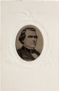 Political:Miscellaneous Political, Andrew Johnson: A Most Unusual Tintype Portrait set in Carte deVisite Frame....