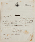 """Autographs:Authors, Margaret Oliphant Autograph Letter Signed. """"M.O.W.Oliphant."""" One page, 4"""" x 5"""", on her personal letterhead,Windsor [Be..."""